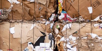 Recyclage du carton des entreprises mise en balles