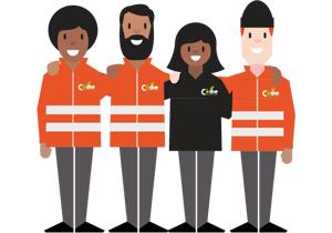 Recyclage modèle social et solidaire logo homme et femme