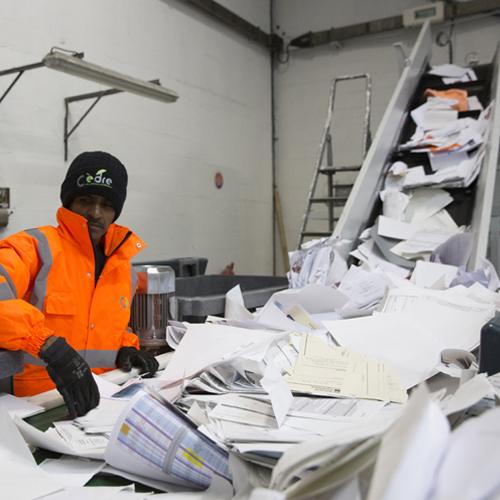 Recyclage et tri des papiers de bureau